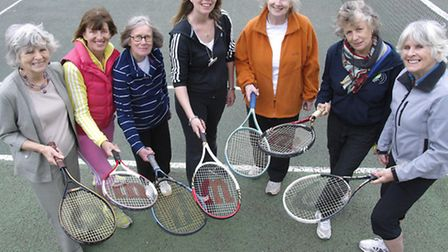 Over 60s enjoying free tennis at the Highbury fields courts