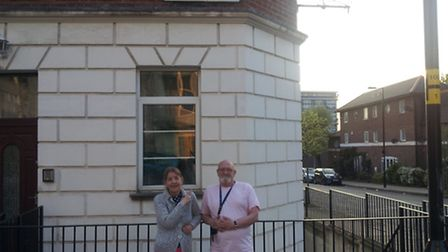Ray and Kath Wardley next to one of the new signs