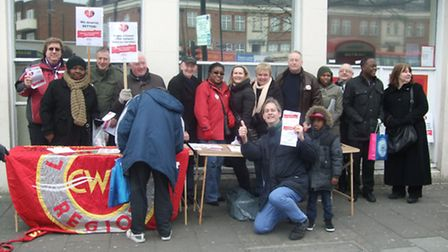 Post office staff and CWU supporters at Holloway Post Office