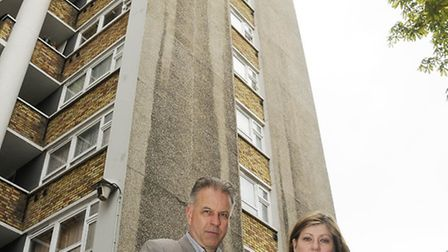 MP Emily Thornberry and Cllr Paul Convery visit residents and assess the damage at Kestrel House