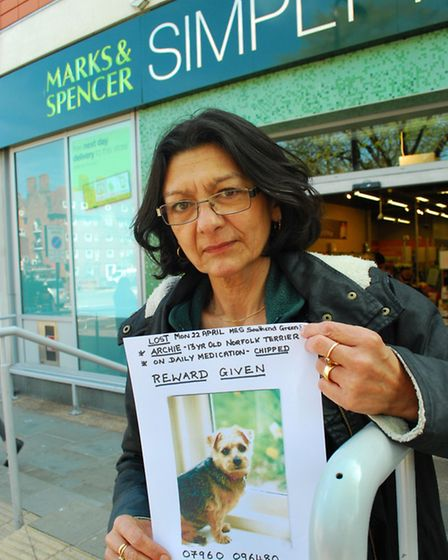 Shelley King has been handing out posters appealing for information about missing pet Archie. Pictur