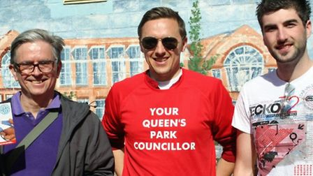 Cllr James Denselow with residents at Queen's Park Farmers Market on Sunday