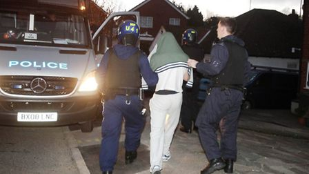 Police raided three addresses this early morning (pic credit: Lewis Whyld/PA Wire)