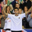 Great Britain's James Ward celebrates victory after the Davis Cup match against Russia's Dmitry Turs