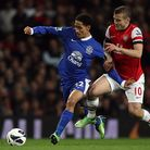 Arsenal's Jack Wilshere battles for the ball with Everton's Steven Pienaar in the 0-0 draw at the Em