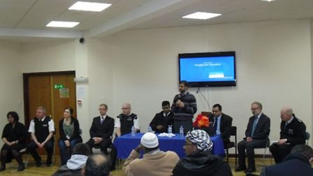 Speakers at the anti-hate crime event on Friday