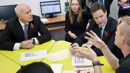 Howard Garrick, far right, talks to Deputy Prime Minister Nick Clegg and Work and Pensions Secretary