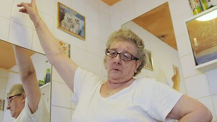 Pic of widower Patricia Marden by damage in her bathroom, she had to wait six months for local autho
