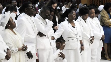 Joseph's family at his funeral service Pic: Dieter Perry