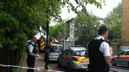 The scene of the fire in Barnsbury Square. Photo @EmmaReporter