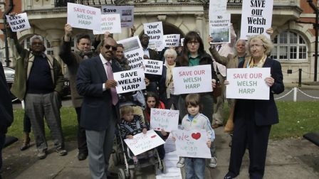 Campaigners opposed to a controversial housing development on the Welsh Harp reservoir hand in a pet