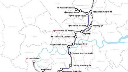 The proposed Regional route for Crossrail 2. Picture: Transport for London