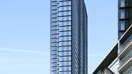 Architects' drawings of what the tallest tower at 155 metres will look like