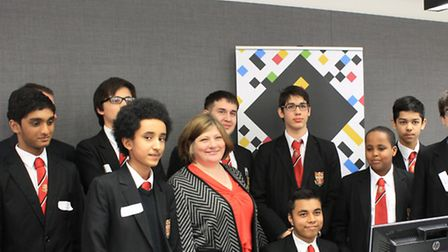 Students from the Central Foundation Boys School with MP Emily Thornberry