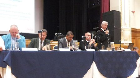 Ron Dobson, right, spoke at Islington Town Hall's Assembly Hall