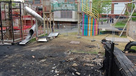 Charred remains of the playground