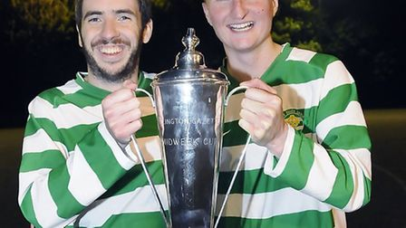 St Paul's Celtic captain (left) and the matchwinner Nicky Ward celebrate with the Islington Gazette