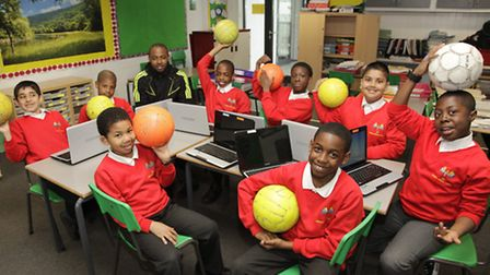 Pupils from Wembley Primary School launch campaign to meet football legend Ian Wright
