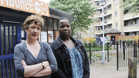 Lorna Reid and Suzanne York outside the building they won't be able to use