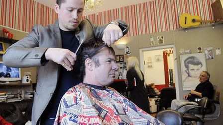 Paul Federici, owner of Chaps and Dames, gives Kate Middleton hairdresser Richard Ward a Royal snip