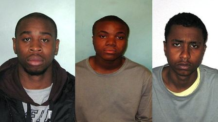 Left to right: Christopher Walters, Loen Burton and Abdi Aziz Hassan are due to be sentenced today
