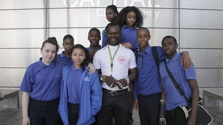 Levi Roots with pupils from Capital City Academy