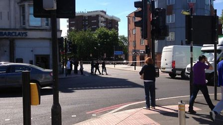 The scene of the bomb scare in Finsbury Park. Twitter: @guillaumeduhan