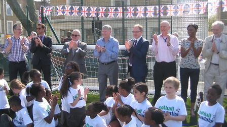 Pat Rice joins pupils and staff at St Mark's School