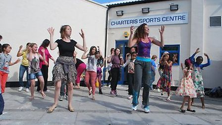 Residents enjoy Zumba dancing at the Charteris Big Lunch event