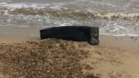 The fuel tank, which washed up on Corton beach, was quickly removed by Waveney Norse. Picture: East