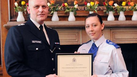 PCSO Stellar Anderson and borough commander Gerry Campbell Pic: Dieter Perry