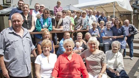 A community reunited : Anne Carter (centre front) with old friends from Lower Place.