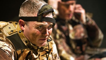 Alex Ferns (Gary) and Finlay Robertson (Mike) in Casualties at Park Theatre - photo by Simon Annand.