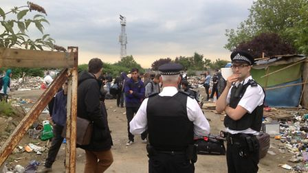 Police raided the former grounds of Hendon Football Club (pic credit: Gus Bodur)