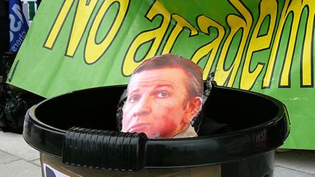 An effigy of Michael Gove was binned by the strikers