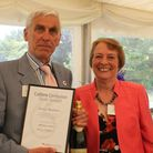 Actor Terrence Hardiman (left) is recognised for his voluntary work with author Gillian Cross