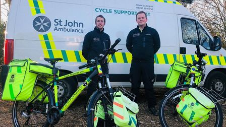 Martin Robbins, cycle responder trainer with St John's Ambulance, takes delivery of Lowestoft's two