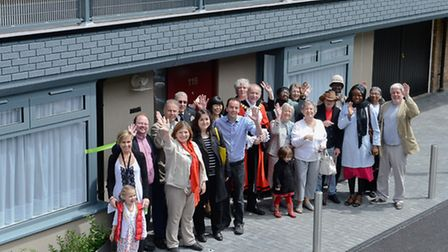 Cllr James Murray, MP Emily Thornberry and Mayor Barry Edwards with residents