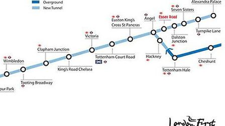How the Crossrail 2 map would look with an Essex Road stop