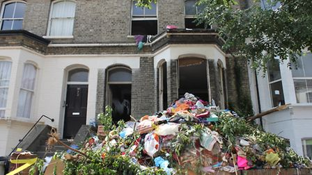 """The pile of rubbish which sparked angry complaints of creating an """"eyesore"""" after the clean-up began"""