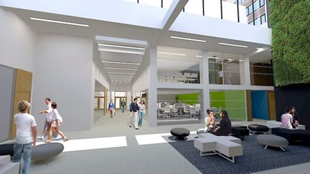 The atrium in the proposed new landmark building for City University