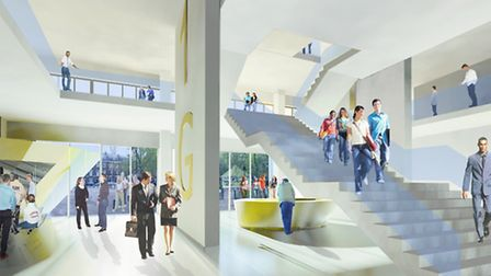 The main entrance to the proposed new landmark building for City University