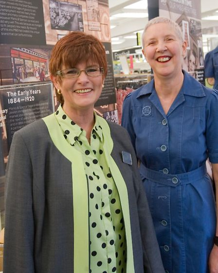 Lynn May (left), who has served 36 years at M&S, and Lauran Neale, who served 33 years, compare toda