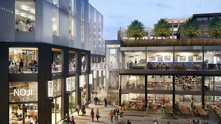An image of the plaza in Shoreditch Village