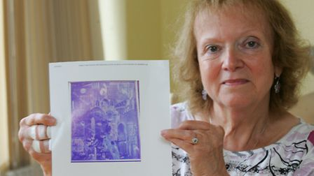 Iris Anderson with an image of the collage