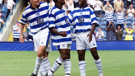 Leroy Griffiths (centre) celebrates his goal against Chelsea for QPR in July 2001
