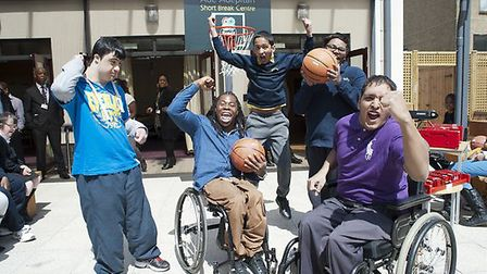 Ade Adepitan at The Village with ,Left to right: Pedro Corona, 18, Nadeem Ahmed, 13, Pravin Jeyakara