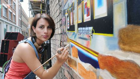 Pictured is artist Andrea Tyrimos