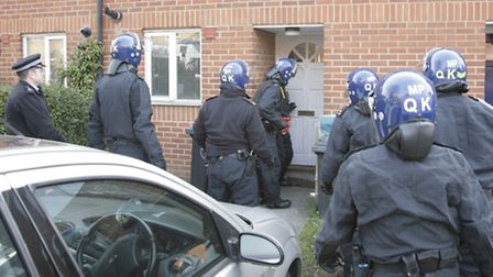 Brent Police carried out 10 dawn raids this morning like the one pictured in this raid earlier this