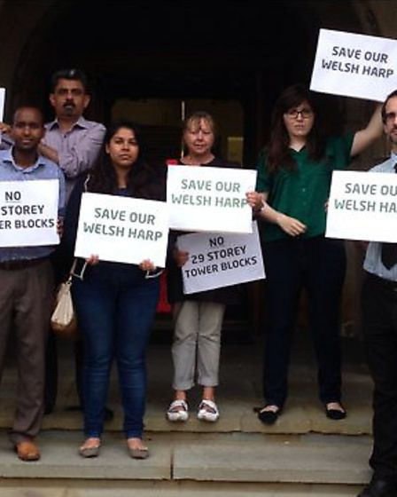 Save our Welsh Harp campaigners outside the Barnet council meeting
